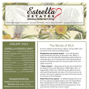 January newsletter at Estrella Estates Gracious Retirement Living in Goodyear, Arizona