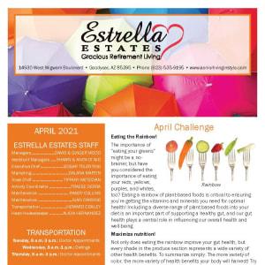 April newsletter at Estrella Estates Gracious Retirement Living in Goodyear, Arizona