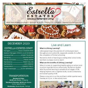 December Estrella Estates Gracious Retirement Living newsletter