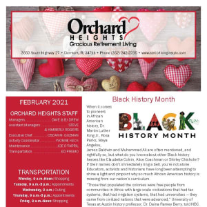 February newsletter at Orchard Heights Gracious Retirement Living in Clermont, Florida