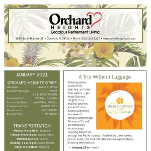 January newsletter at Orchard Heights Gracious Retirement Living in Clermont, Florida