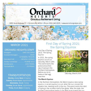 March Orchard Heights Gracious Retirement Living newsletter