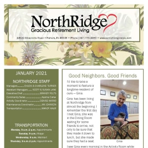 January newsletter at Northridge Gracious Retirement Living in Fishers, Indiana