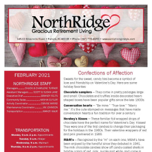 February newsletter at Northridge Gracious Retirement Living in Fishers, Indiana