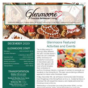 December Glenmoore Gracious Retirement Living newsletter