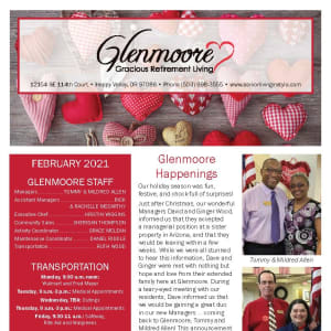 February newsletter at Glenmoore Gracious Retirement Living in Happy Valley, Oregon