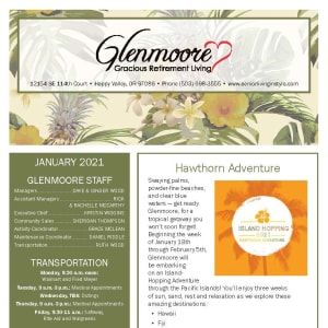 January newsletter at Glenmoore Gracious Retirement Living in Happy Valley, Oregon
