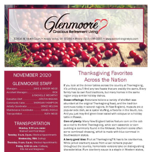 November newsletter at Glenmoore Gracious Retirement Living in Happy Valley, Oregon