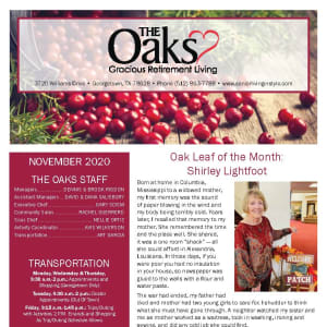 November newsletter at The Oaks Gracious Retirement Living in Georgetown, Texas