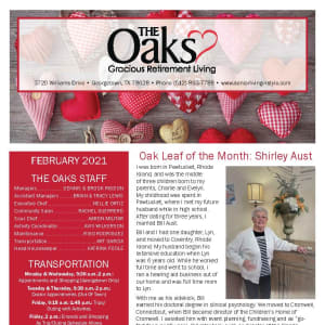 February newsletter at The Oaks Gracious Retirement Living in Georgetown, Texas