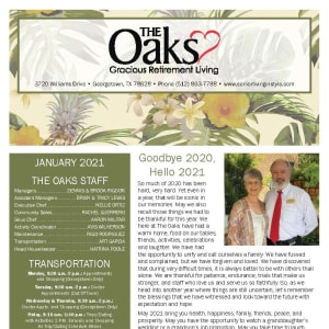 January newsletter at The Oaks Gracious Retirement Living in Georgetown, Texas