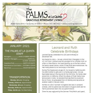January newsletter at The Palms at LaQuinta Gracious Retirement Living in La Quinta, California