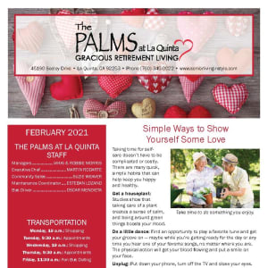 February newsletter at The Palms at LaQuinta Gracious Retirement Living in La Quinta, California