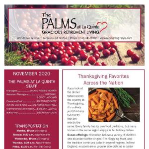 November newsletter at The Palms at LaQuinta Gracious Retirement Living in La Quinta, California