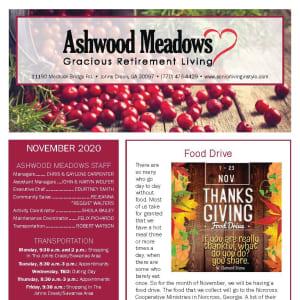 November newsletter at Ashwood Meadows Gracious Retirement Living in Johns Creek, Georgia