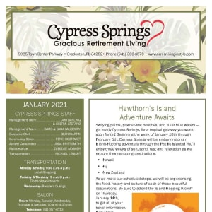 January newsletter at Cypress Springs Gracious Retirement Living in Bradenton, Florida