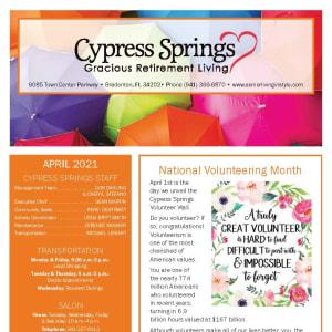 April newsletter at Cypress Springs Gracious Retirement Living in Bradenton, Florida