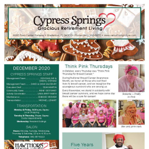 December Cypress Springs Gracious Retirement Living Newsletter