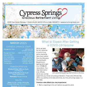 March Cypress Springs Gracious Retirement Living Newsletter