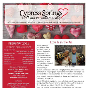 February newsletter at Cypress Springs Gracious Retirement Living in Bradenton, Florida