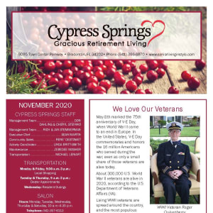 November newsletter at Cypress Springs Gracious Retirement Living in Bradenton, Florida