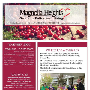 November newsletter at Magnolia Heights Gracious Retirement Living in Franklin, Massachusetts