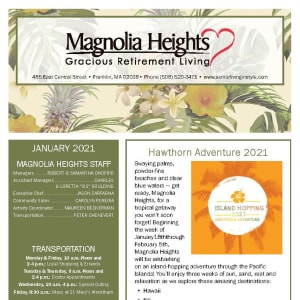 January newsletter at Magnolia Heights Gracious Retirement Living in Franklin, Massachusetts