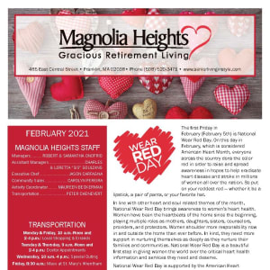 February newsletter at Magnolia Heights Gracious Retirement Living in Franklin, Massachusetts