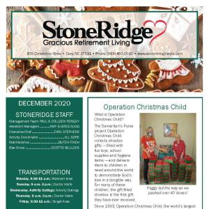 December Stoneridge Gracious Retirement Living newsletter