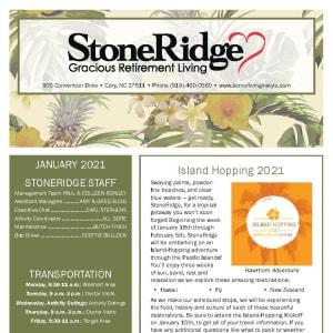 January newsletter at Stoneridge Gracious Retirement Living in Cary, North Carolina
