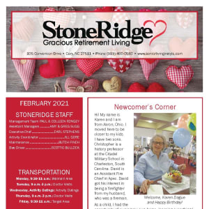 February newsletter at Stoneridge Gracious Retirement Living in Cary, North Carolina