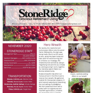 November newsletter at Stoneridge Gracious Retirement Living in Cary, North Carolina