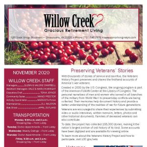 November newsletter at Willow Creek Gracious Retirement Living in Chesapeake, Virginia
