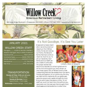 January newsletter at Willow Creek Gracious Retirement Living in Chesapeake, Virginia