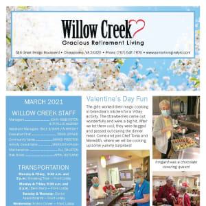 March Willow Creek Gracious Retirement Living newsletter
