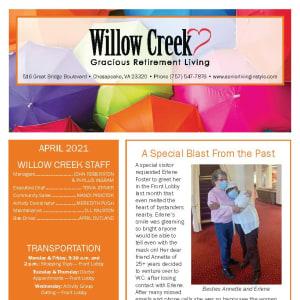 April newsletter at Willow Creek Gracious Retirement Living in Chesapeake, Virginia