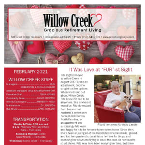 February newsletter at Willow Creek Gracious Retirement Living in Chesapeake, Virginia