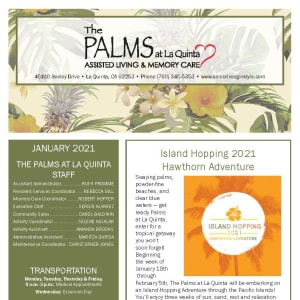 January newsletter at The Palms at La Quinta Assisted Living and Memory Care in La Quinta, California