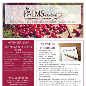 November newsletter at The Palms at La Quinta Assisted Living and Memory Care in La Quinta, California