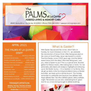 April newsletter at The Palms at La Quinta Assisted Living and Memory Care in La Quinta, California