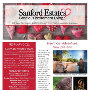February newsletter at Sanford Estates Gracious Retirement Living in Roswell, Georgia