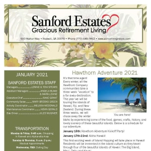 January newsletter at Sanford Estates Gracious Retirement Living in Roswell, Georgia