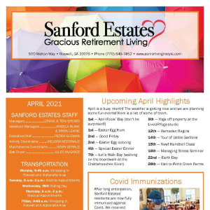 April newsletter at Sanford Estates Gracious Retirement Living in Roswell, Georgia