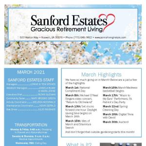 March Sanford Estates Gracious Retirement Living newsletter