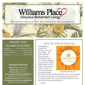 January newsletter at Williams Place Gracious Retirement Living in Davidson, North Carolina
