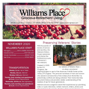 November newsletter at Williams Place Gracious Retirement Living in Davidson, North Carolina