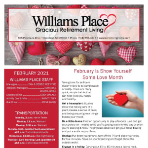 February newsletter at Williams Place Gracious Retirement Living in Davidson, North Carolina