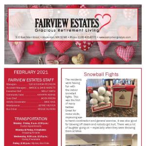 February newsletter at Fairview Estates Gracious Retirement Living in Hopkinton, Massachusetts