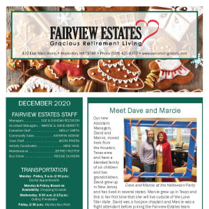 December Fairview Estates Gracious Retirement Living newsletter