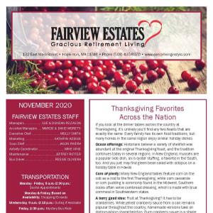 November newsletter at Fairview Estates Gracious Retirement Living in Hopkinton, Massachusetts